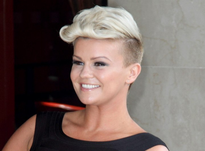 Kerry Katona's short haircut with shaved sides