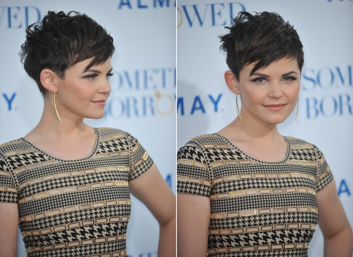 Side view of Ginnifer Goodwin's very short haircut