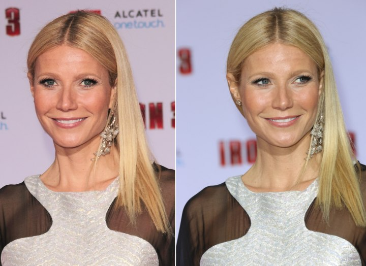 Gwyneth Paltrow - Super straight and side-sweeping hair
