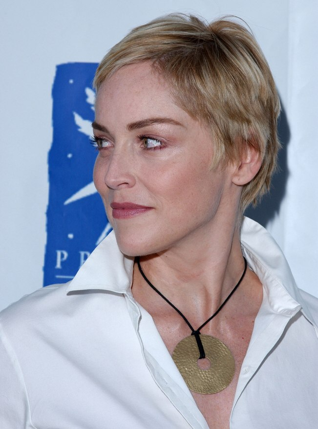 Terrific Sharon Stone Perfectly Cut Pixie With The Hair Left Longer Over Short Hairstyles For Black Women Fulllsitofus