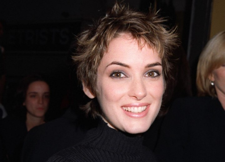 Winona Ryder - Short hairstyle styled with pomade