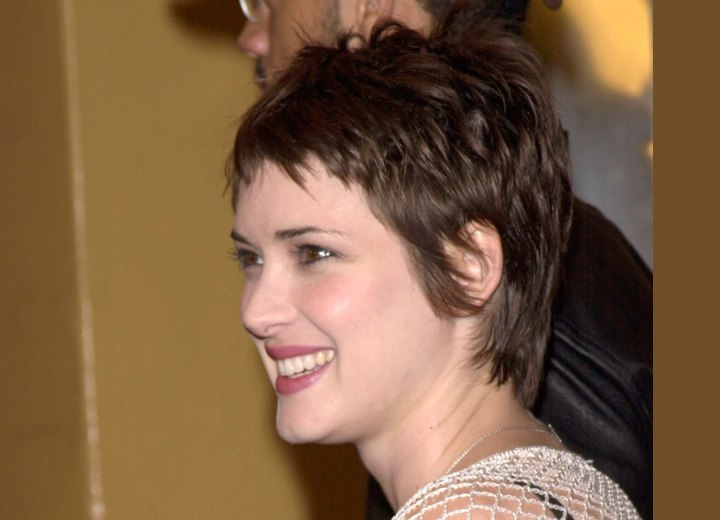 Winona Ryder - Sweet pixie haircut with a tapered neck