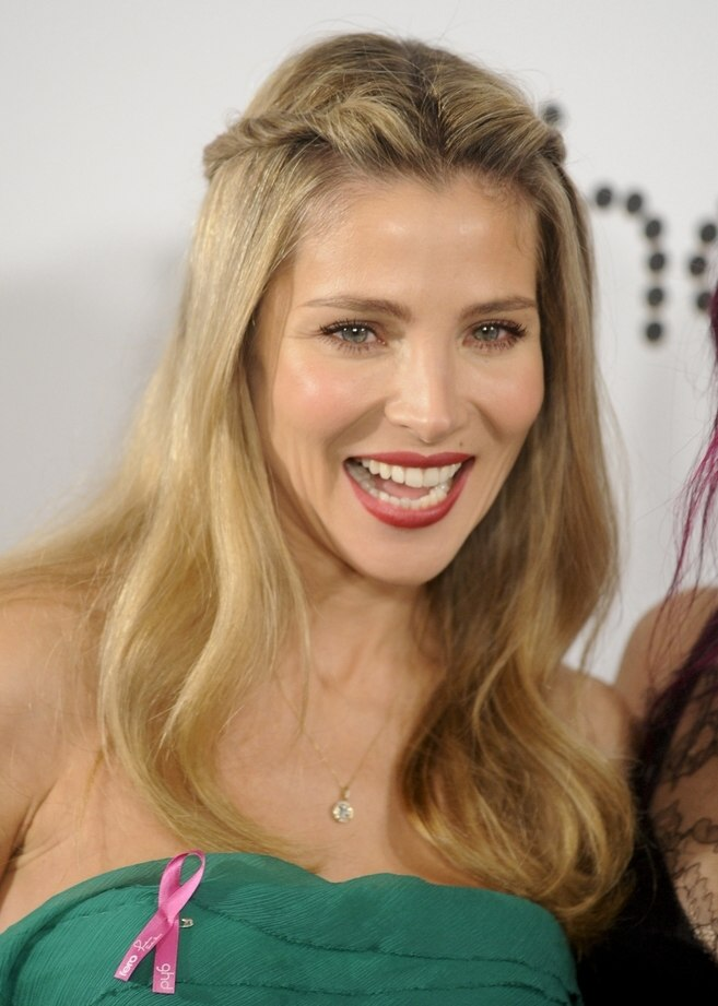 elsa pataky sweet long hairstyle with ponytails twisted