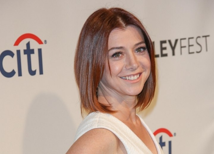 Alyson Hannigan with her hair cut into a bob