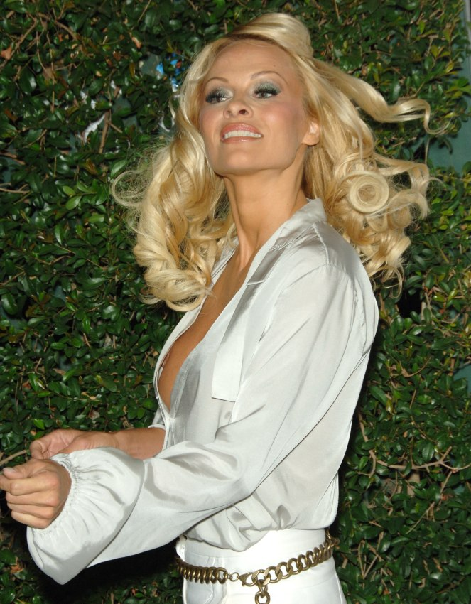 Pamela Anderson Wearing Long Glossy Blonde Hair Waves