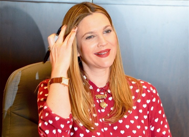Drew Barrymore wearing a shirt with buttoned up collar