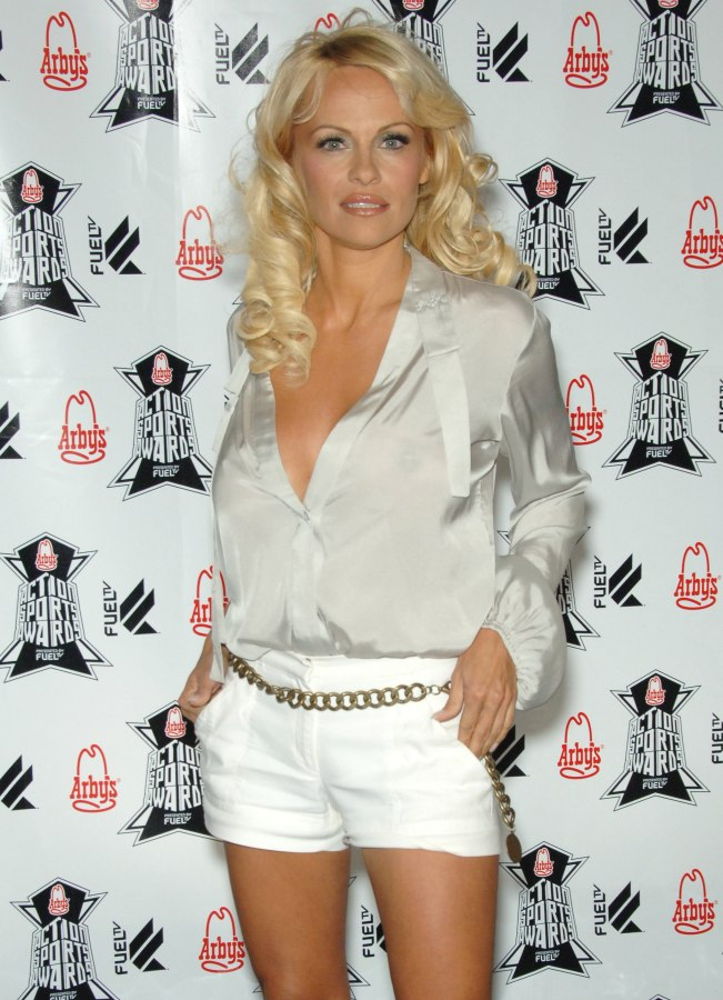 Pamela Anderson Wearing Long Glossy Blonde Hair With Waves