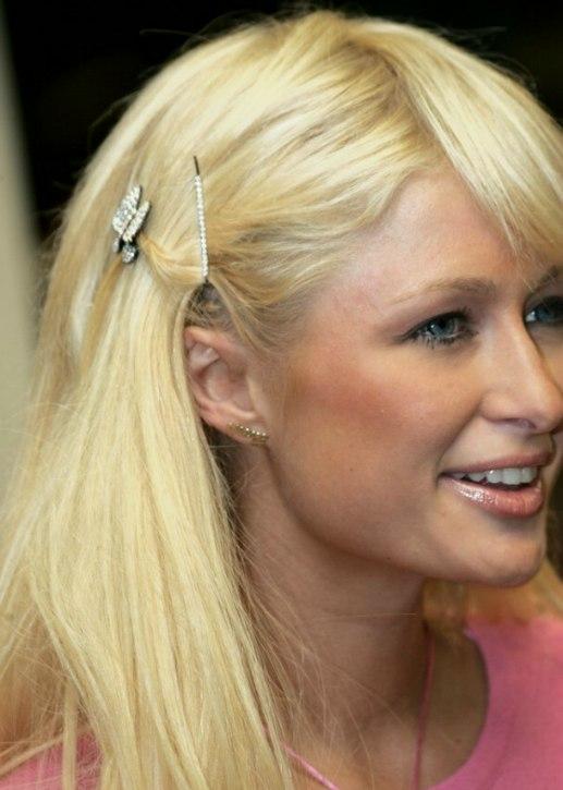Paris Hilton S Barbie Hairdo With Long Hair And Hair Pins