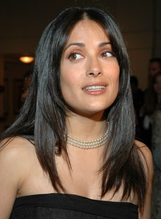 Salma Hayek wearing her hair in a modern long tapered style with ...