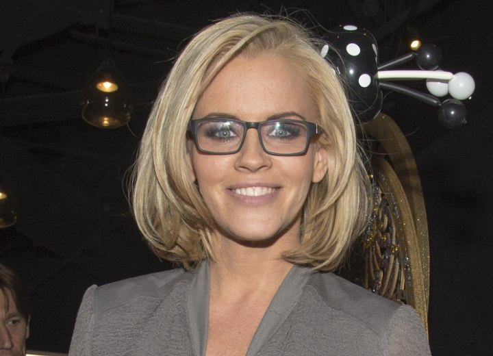 Jenny McCarthy wearing black-framed glasses