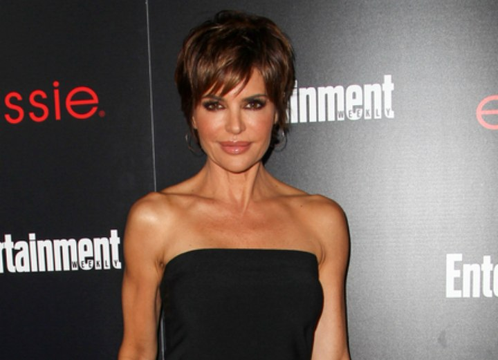 Lisa Rinna look with short hair an a tube dress