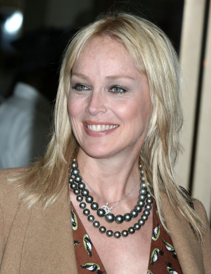 Sharon Stone With Very Straight And Razored Long Hair