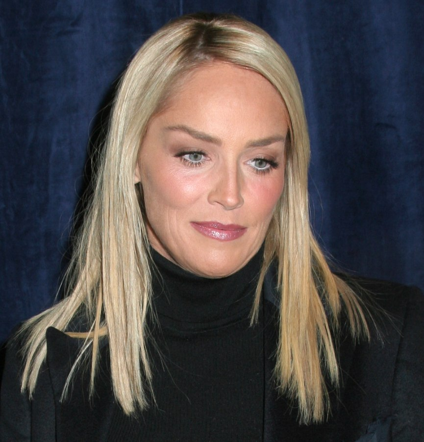 Sharon Stone Hair Just Up From Her Shoulders And Long