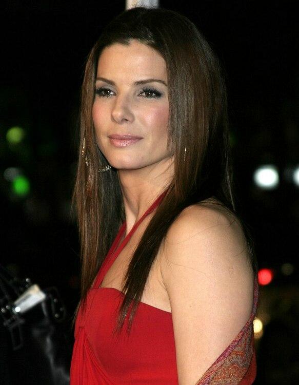 Sandra Bullock Wearing Her Long Hair Sleek Super Straight And Below
