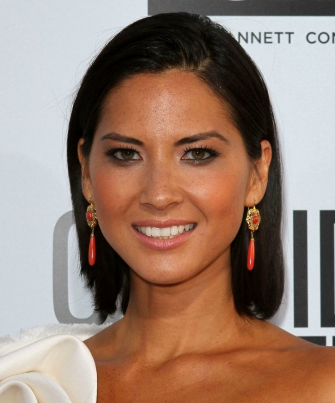 Olivia Munn Sleek Above The Shoulders And Behind The Ears Hairstyle