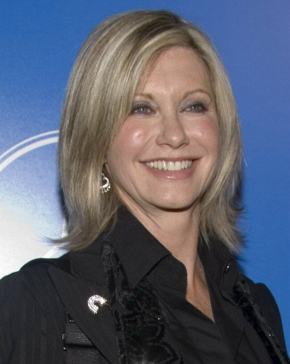 Olivia Newton John Wearing Her Hair Medium Hairstyle