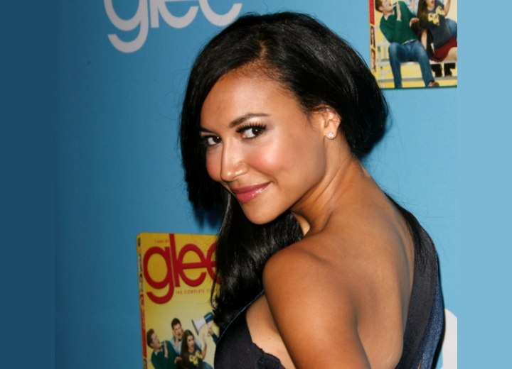 Hair styled over one shoulder - Naya Rivera