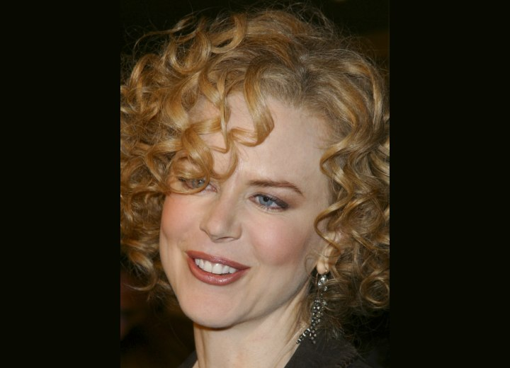 Nicole Kidman with her hair styled in ringlets