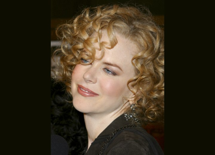 Nicole Kidman with her short hair in curls