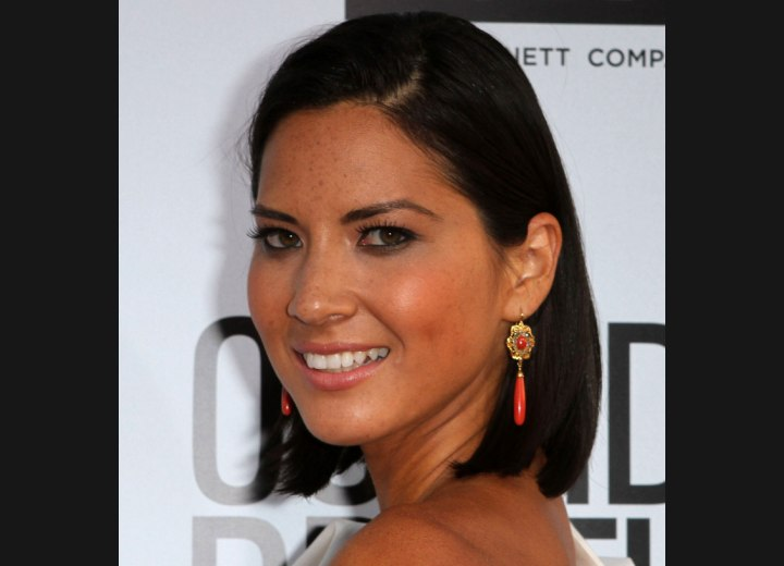 Olivia Munn with her hair cut above the shoulders