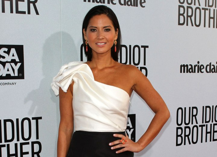 Olivia Munn look with a black and white dress
