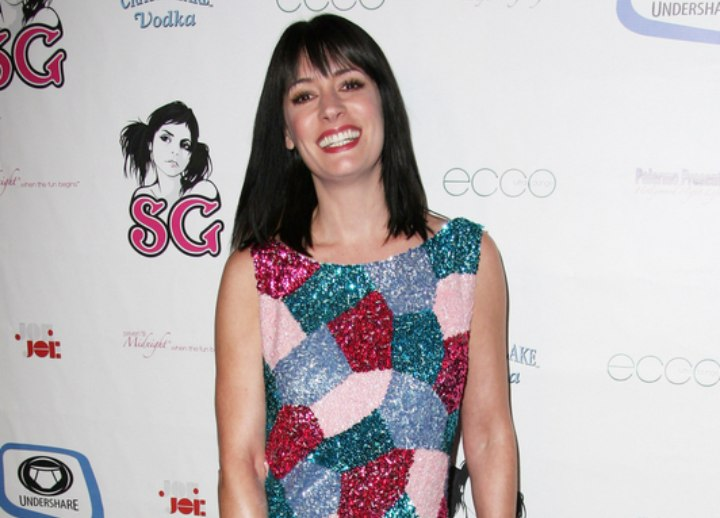 Paget Brewster wearing a patched dress with wintery colors