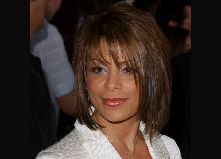 Medium hairstyle with textured layers - Paula Abdul