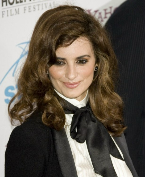 Pen 233 Lope Cruz With Long Curly Hair And Wearing A Tux Outfit
