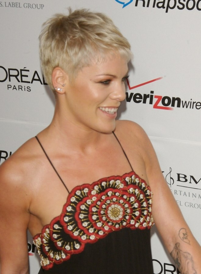 Remarkable Pink Boyish Short Hairstyle With The Ears And Neck Exposed Short Hairstyles Gunalazisus