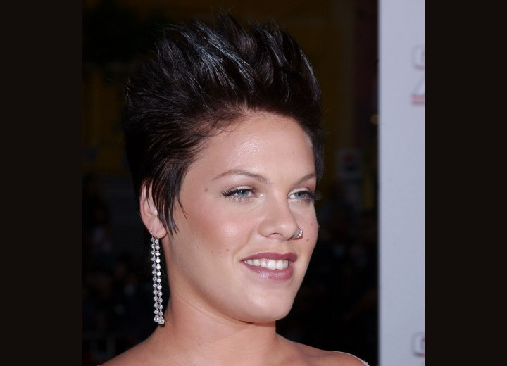 Pink with short hair and spiked bangs