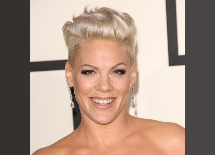 Pink Bleached Platinum Blonde Short Hair With Buzzed Sides