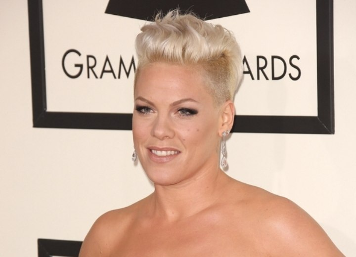 Pink's hair with buzzed sides