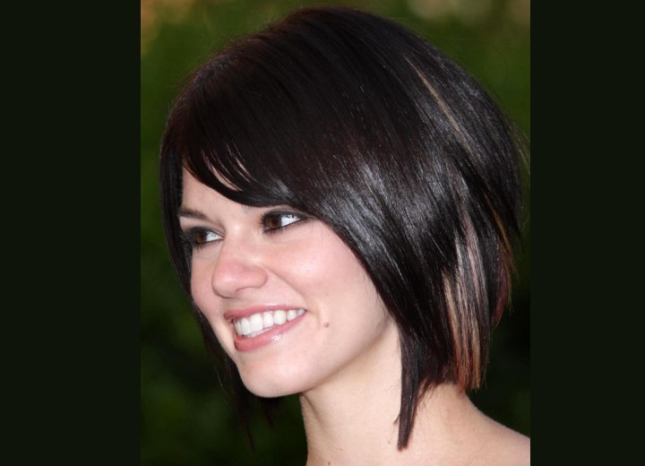 Rachel Melvin with her hair cut in an angled bob