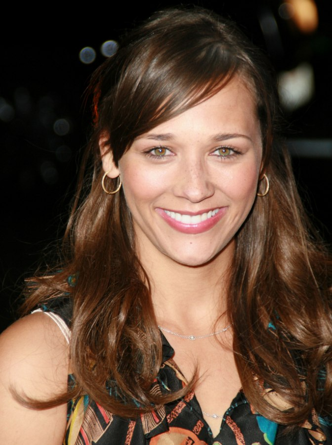 Rashida Jones With Her Long Hair Styled Away From Her Face