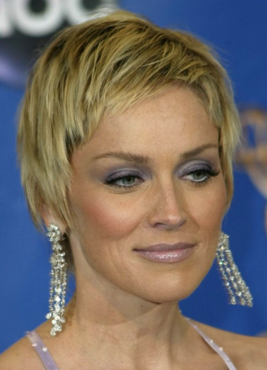 Sharon Stone Hair Smooth Short Razor Cut With Length In The Neck