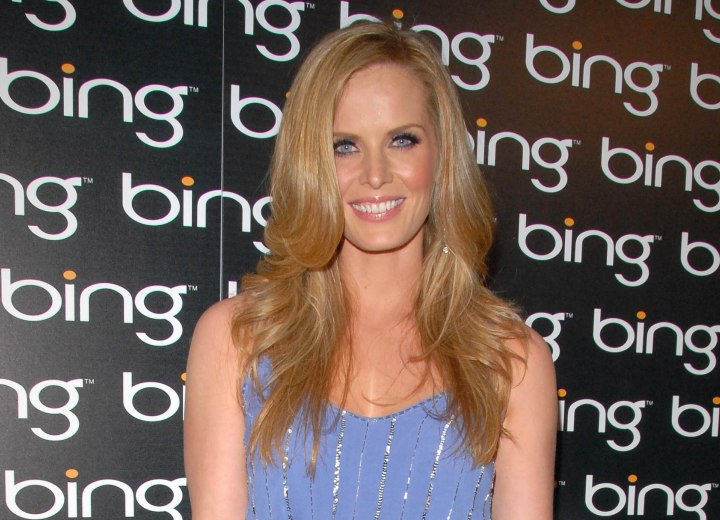 Rebecca Mader wearing a blue dress