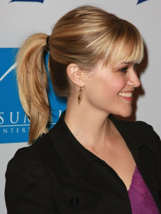 Reese Witherspoon S Young And Fresh Ponytail With Straight