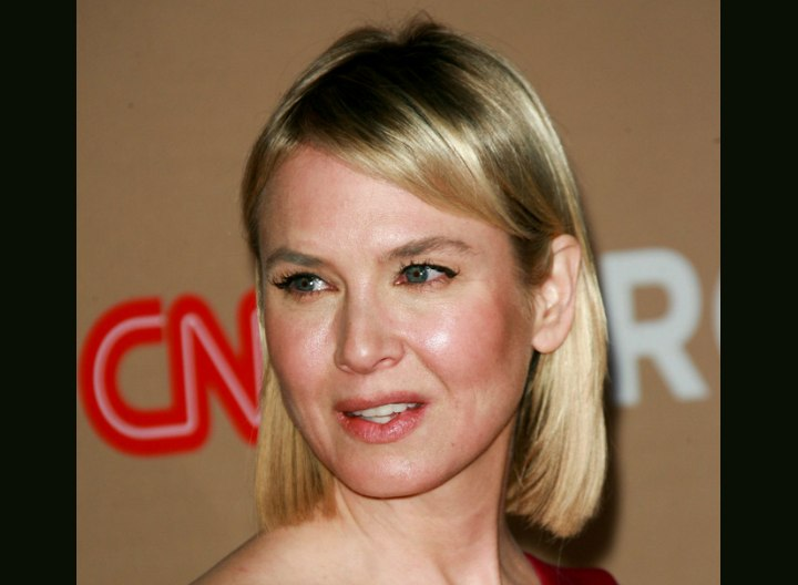 Renee Zellweger with bone straight blonde hair