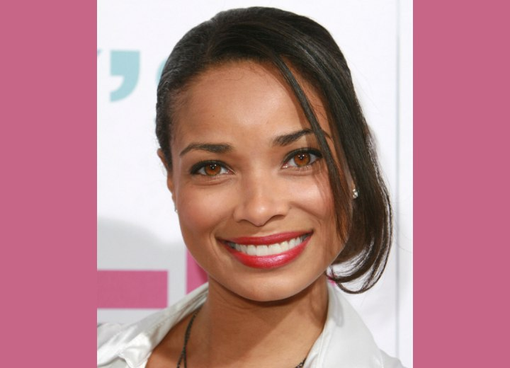 Rochelle Aytes wearing hair pulled to one side