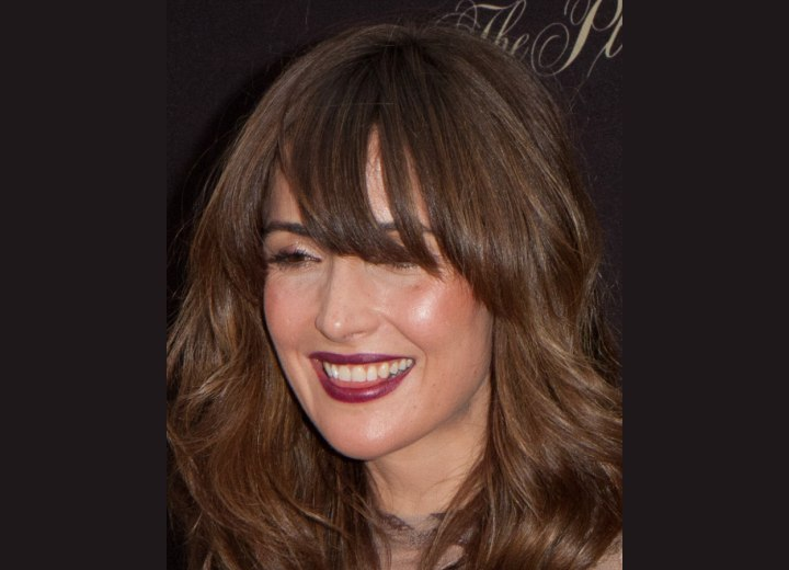 Rose Byrne's hair with large pieced bangs