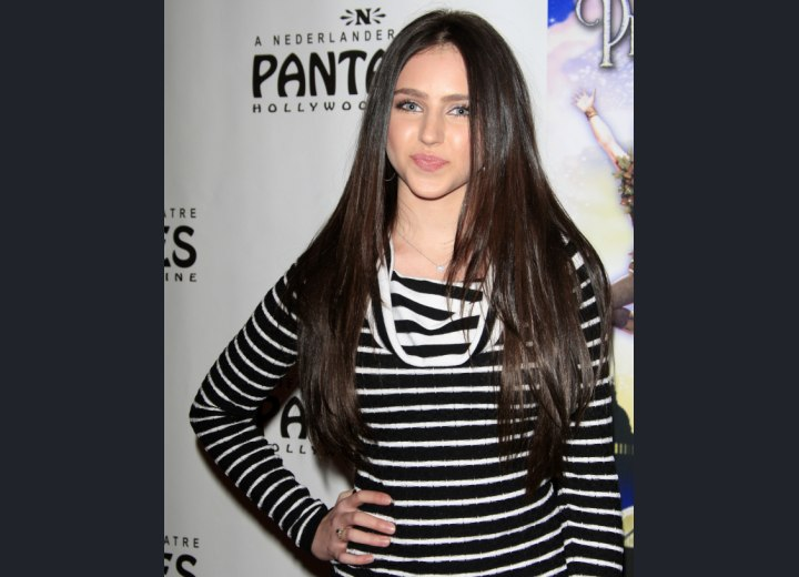Ryan Newman with long and sleek chocolate brown hair