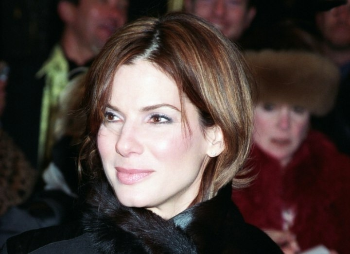 Sandra Bullock - Short hairstyle with a long fringe