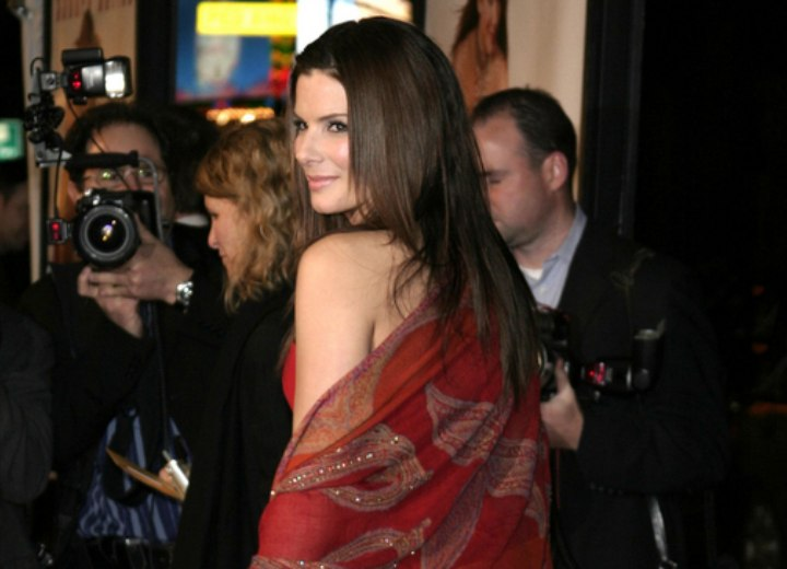 Back view of Sandra Bullock's long hairstyle