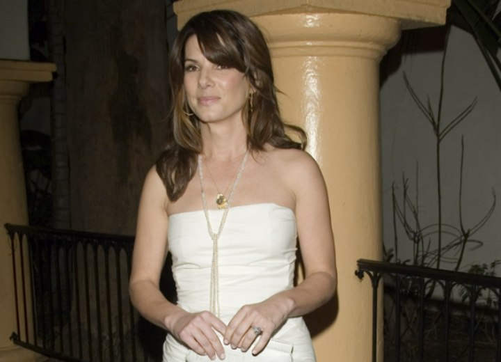 Sandra Bullock wearing a strapless dress