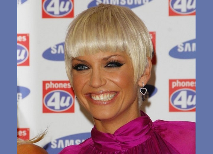 Sarah Harding with platinum silver hair