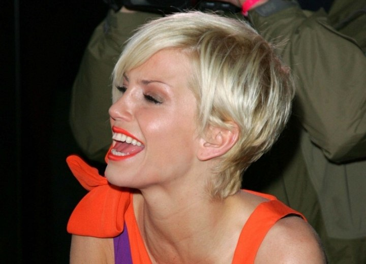 Side view of Sarah Harding's pixie haircut