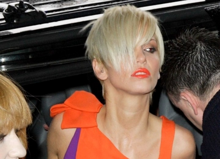 Modern pixie with a long fringe - Sarah Harding