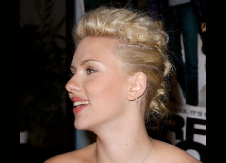Scarlett Johansson with her hair pinned up