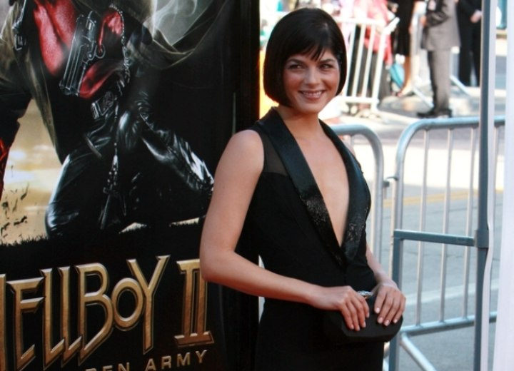 Selma Blair wearing a black pantsuit