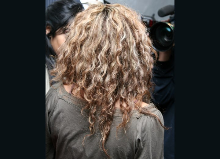 Back view of Shakira's long hair with spiral curls